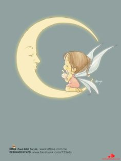 Character & Co - Ato Recover Cute Images, Cute Pictures, Image Deco, Kawaii, Moon Art, Fairy Art, Cute Illustration, Cute Drawings, Nursery Art