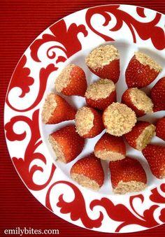 Emily Bites - Weight Watchers Friendly Recipes: Cheesecake Stuffed Strawberries.