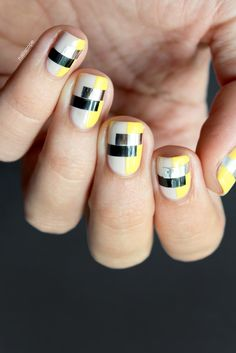 Funky Color Blocking Nails