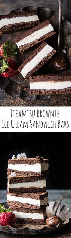 Tiramisu Brownie Ice Cream Sandwich Bars - brownies/bars and fudge - Sandwich Bar, Roast Beef Sandwich, Sandwiches, Frozen Desserts, Frozen Treats, Just Desserts, Delicious Desserts, Dessert Recipes, Tiramisu Brownies