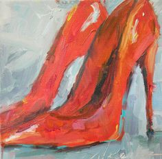 Fun Shoes original oil painting 8 by 8 by JaniceWarrinerArt, $50.00