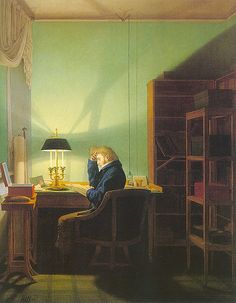Man Reading by Lamplight, 1814. George Kersting