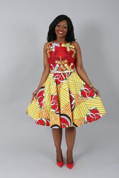 African clothing : African print ZOEY red/yellow