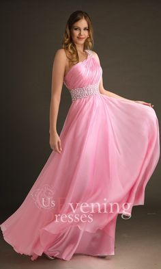 Pink A-Line One Shoulder Floor-length Evening Dress