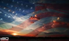 American Flag Sunset Background. Click to Download.