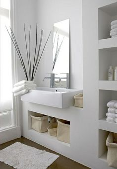 Design Ideas Modern bathroom ideas - cool bathroom furniture Design IdeasSource : Moderne Badezimmer Ideen - coole Badezimmermöbel by Zen Bathroom Decor, White Bathroom, Bathroom Furniture, Bathroom Interior, Small Bathroom, Bathroom Ideas, Bathroom Modern, Minimalist Bathroom, Bathroom Taps