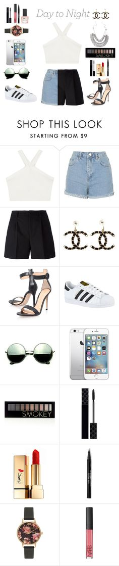 """""""☀️Day to night"""" by danny-rv ❤ liked on Polyvore featuring BCBGMAXAZRIA, Topshop, Yves Saint Laurent, Chanel, Gianvito Rossi, adidas, Revo, Forever 21, Gucci and Trish McEvoy"""