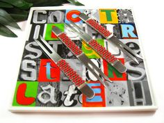 Cocktails First, Questions Later! Square #Cocktails #Appetizer #Plate with Matching Beaded Snack Forks by TheTwistedRedhead on Etsy