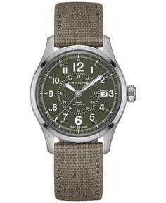 Hamilton Men's Swiss Automatic Khaki Field Green Canvas Strap Watch 40mm H70595963