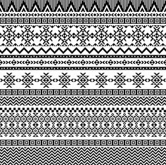 Border Decoration Elements Patterns In Black And White