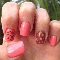 Pink and brown nail art OPI