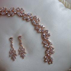 Rose gold bracelet and earring set