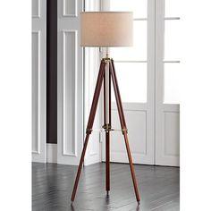 Possini Euro Cherry Finish Wood Surveyor Tripod Floor Lamp - #W1650 | Lamps Plus
