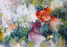 Goldfish - by Lian Quan Zhen (b. China - ), USA. Watercolor.