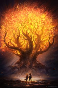 Unique illustration of a glowing fiery tree in an abstract fantasy land. Artistic unique illustration of a fiery bright glowing tree in an abstract fantasy land stock illustration Fantasy Artwork, Fantasy Art Landscapes, Fantasy Landscape, Landscape Art, Fantasy Trees, Dream Fantasy, Fantasy World, Dark Fantasy, Illustration Fantasy