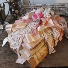 Pink millinery floral book stack shabby by AnitaSperoDesign