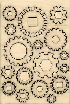 Cogs wood shapes Embellishments Scrapbooking Cardmaking Scrapbook Craft Cute