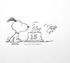 Birthday Cake Snoopy by Charles M. Schulz