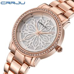 CRRJU luxury Dress Brand Fashion Watch Woman Ladies Rose gold Diamond relogio feminino Dress Clock female relojes mujer 2016 New