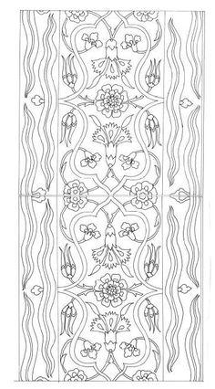 Boarder Designs, Stencil Designs, Applique Designs, Floral Illustrations, Illustration Art, Pattern Art, Pattern Design, Turkish Pattern, Tie Dye Crafts