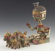 Basé à San Francisco l'artiste Calvin Ma réalise de sculptures en céramiques qui montrent un personnage en forme de maison se déplacer sur des véhicules inspirés par des éléments de la culture populaire.