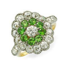 Art Deco Demantoid Garnet & Diamond Ring, cir. 1920
