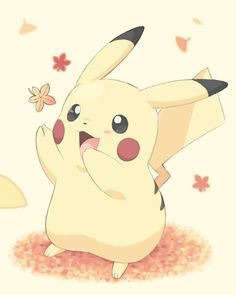 Pikachu and some autumn leaves.