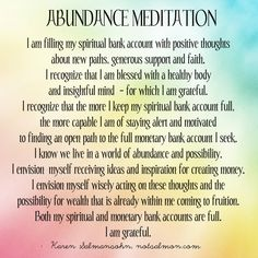 Looking for a powerful abundance meditation so you stay focused & confident about achieving financial goals? Check out this script by Karen Salmansohn