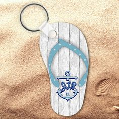 b39de289de09a Monogrammed Nautical Beach Wood Flip Flop Keychain Personalized Summer  Beach Flip Flop Key Charm