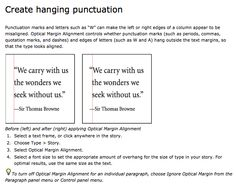 hanging punctuation in indesign