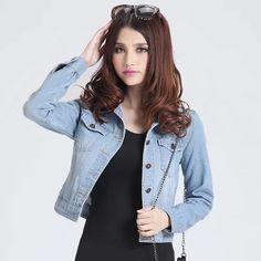 >> Click to Buy << External winter big yards female Spring and Autumn casual denim jacket was thin short paragraph long-sleeved cardigan coat ride #Affiliate