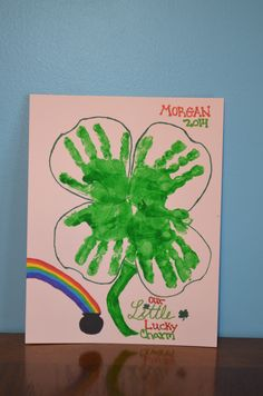 Hand Print Four Leaf Clover Four Leaves, Four Leaf Clover, Green, Projects, Log Projects, Blue Prints, Quatrefoil