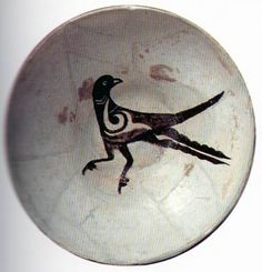 Bowl decorated with a bird Nishapur, Iran 10th century Glazed earthenware
