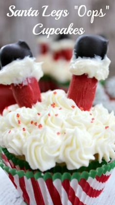 "Santa Legs ""Oops"" Cupcakes How-To ~ Make these just for fun at home with the kids or they would be a big hit at your Holiday Party!"
