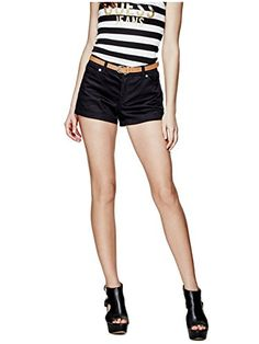 GUESS Womens Hatti Stretch Twill Shorts -- Read more at the image link. Casual Shorts, Casual Outfits, Image Link, Socks, Women, Fashion, Moda, Casual Clothes, Women's