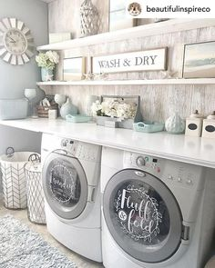 room makeover farmhouse Laundry room decor self service laundry fluff and fold vinyl decal set, washer Laundry Room Remodel, Laundry Decor, Laundry Closet, Laundry Room Organization, Small Laundry, Laundry Room Design, Laundry Baskets, Laundry Drying, Laundry Room Decals
