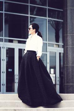 Sexy yet simple | Fitted shirt | Flare skirt #Imaluxurylady