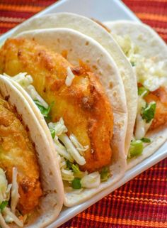 Beer-Battered Fish Tacos with Cilantro Slaw - Recipes - Seafood Dinner - Fisch Fish Recipes, Seafood Recipes, Mexican Food Recipes, Cooking Recipes, Healthy Recipes, Slaw Recipes, Spinach Recipes, Pork Recipes, Cooking Tips