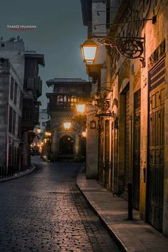 Nighttime street in Old Cairo, Egypt. Tucked away amid the modern urban area of Cairo lies Old Cairo, one of the world's oldest Islamic cities, with its famous mosques, madrasas, hammams and fountains.
