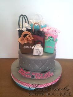A shopping themed birthday cake fit for a diva!