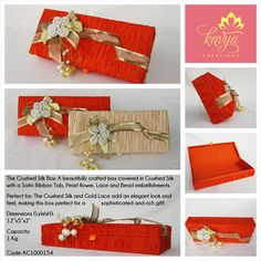 Our Crushed Silk Box: A beautifully crafted box covered in Crushed Silk with a Satin Ribbon Tab, Pearl Flower, Lace and Bead embellishments!