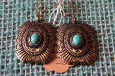 Brass Concho Earrings