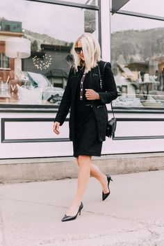 Chanel look On A Budget, Fashion blogger Erin Busbee of BusbeeStyle.com wearing a black tweed dress with pearl embellishments, matching black jacket, black pumps, and a rebecca minkoff love bag from Walmart in Telluride, CO