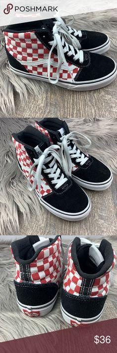0e0521f77b VANS KIDS WARD-HI Skate Sneaker Maroon Checker Blk VANS Kids Youth Boy