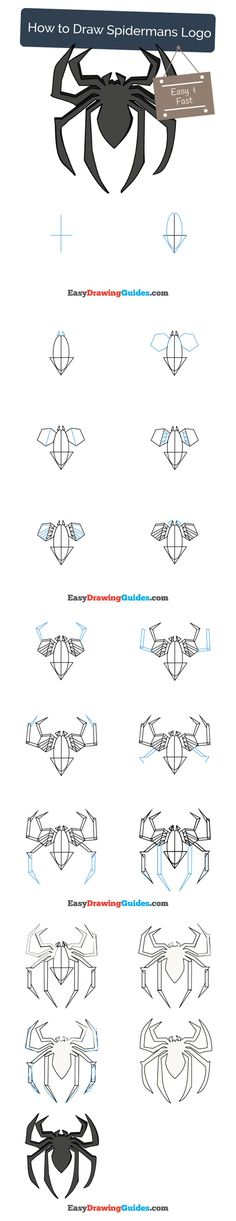 Learn How to Draw Spiderman's Logo: Easy Step-by-Step Drawing Tutorial for Kids and Beginners. #spiderman #drawing. See the full tutorial at https://easydrawingguides.com/how-to-draw-spidermans-logo/