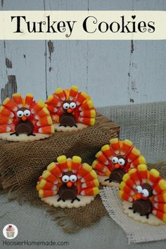 Turkey Cookies - these are so cute!