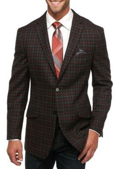 Tallia Orange Charcoal Slim Fit Check Wool Sport Coat