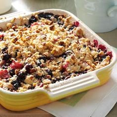 Rhubarb-Blueberry Crumble Recipe from Taste of Home -- shared by Mike Schulz of Tawas City, Michigan