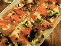 Smoked salmon, creme fraiche, dill, and a shower of lemon zest. What's not to love? And it's pretty nice-looking, to boot.   Continuing the ...