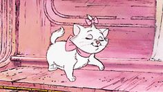 kitty cat love cute disney pink bow disney gif kittens white cat Marie aristocats strut disney life